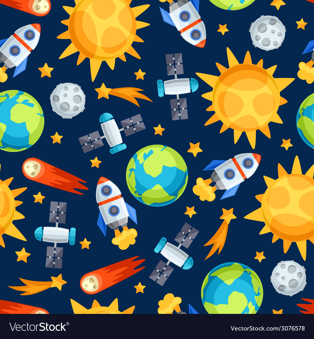 Seamless pattern of solar system planets and vector | Price: 1 Credit (USD $1)
