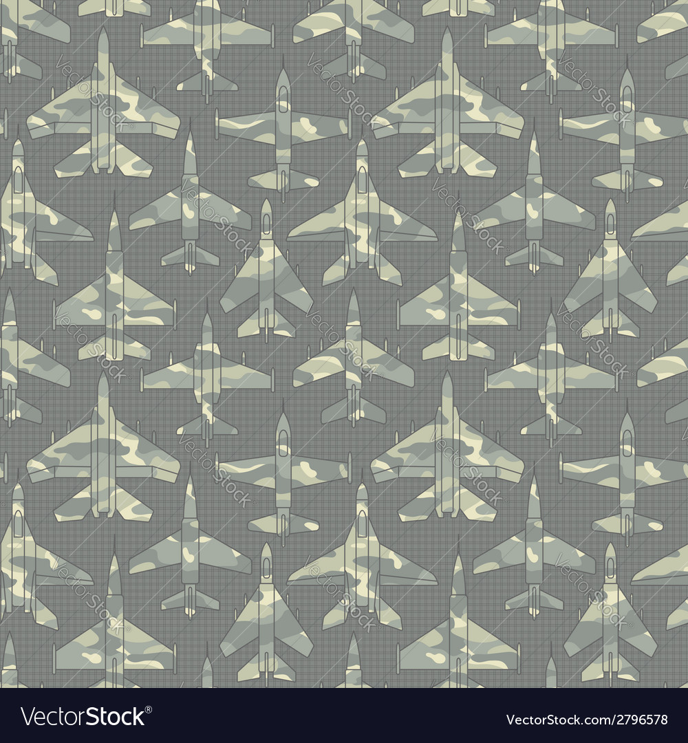 Seamless pattern with military airplanes 02 vector | Price: 1 Credit (USD $1)