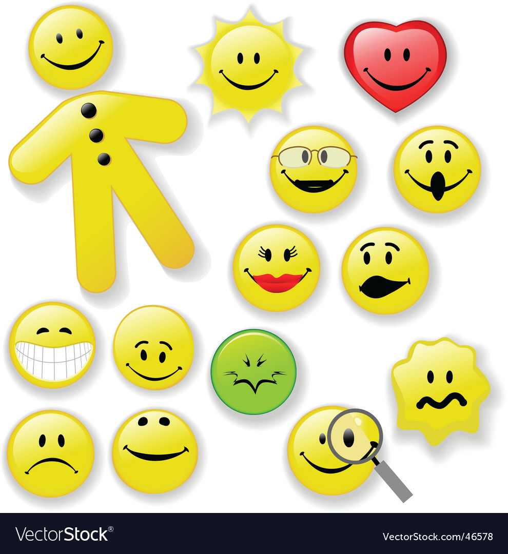 Smiley face button emoticon family vector | Price: 1 Credit (USD $1)