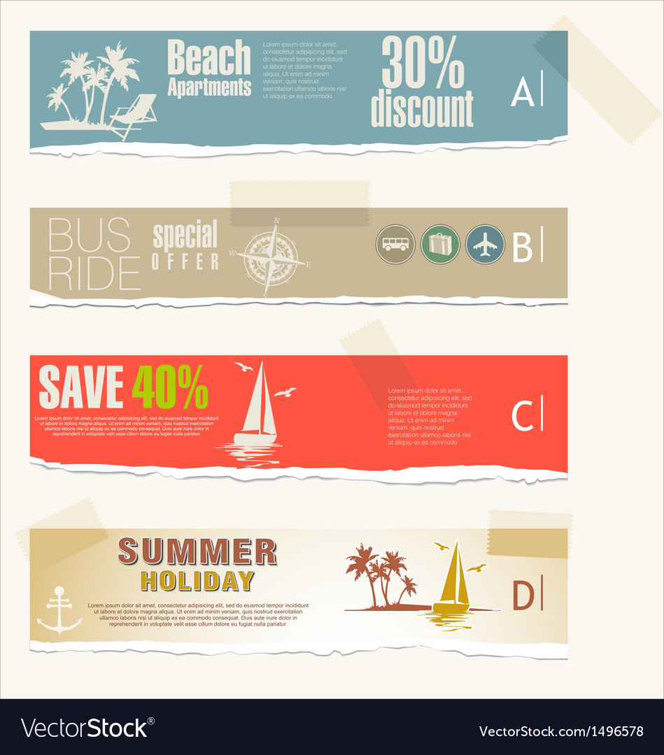 Summer banner torn paper set vector | Price: 3 Credit (USD $3)