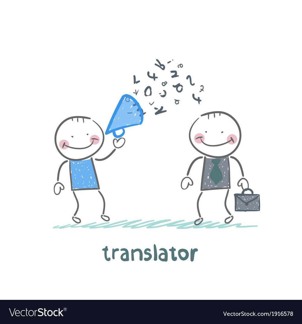 Translator listens as businessman shouting into a vector | Price: 1 Credit (USD $1)
