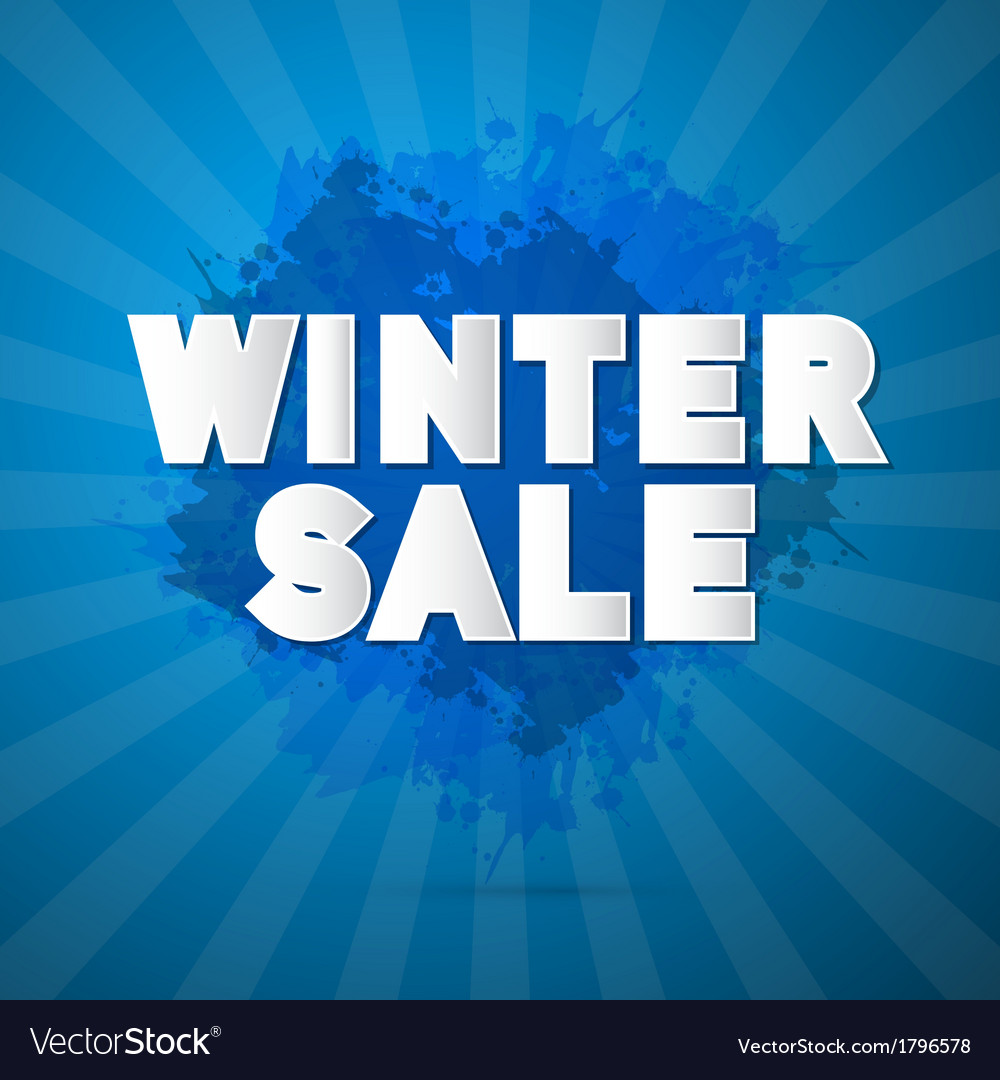 Winter sale title on abstract blue background vector | Price: 1 Credit (USD $1)