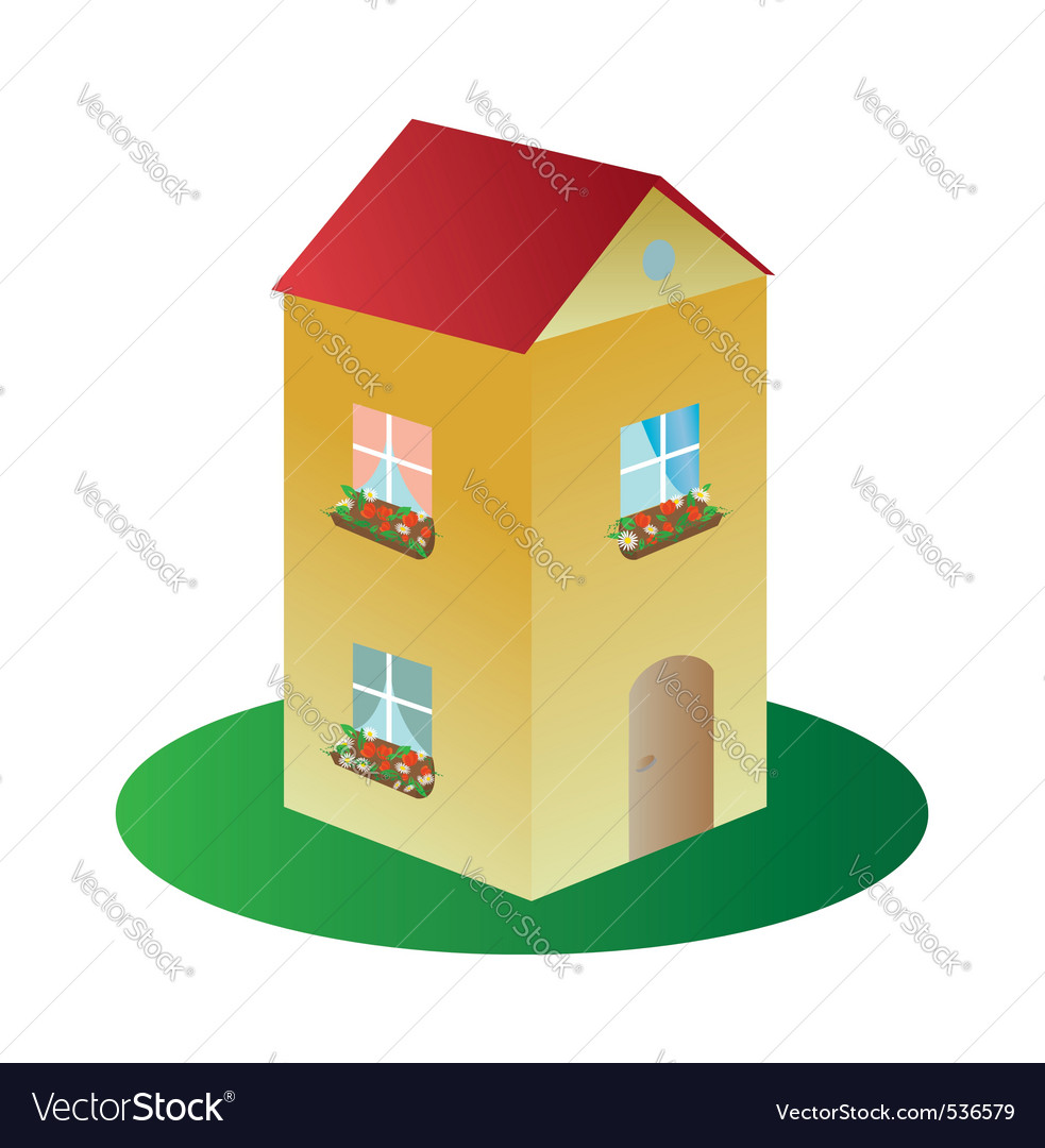3d house with flowers vector | Price: 1 Credit (USD $1)