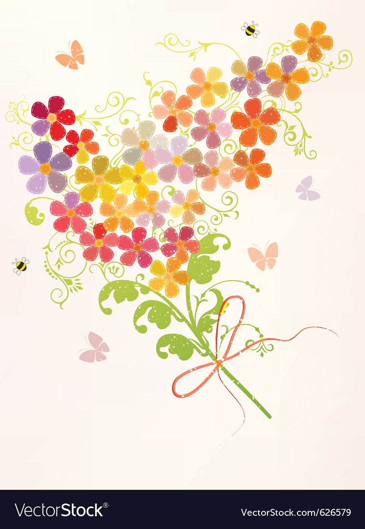 Bunch of beautiful flowers vector | Price: 1 Credit (USD $1)