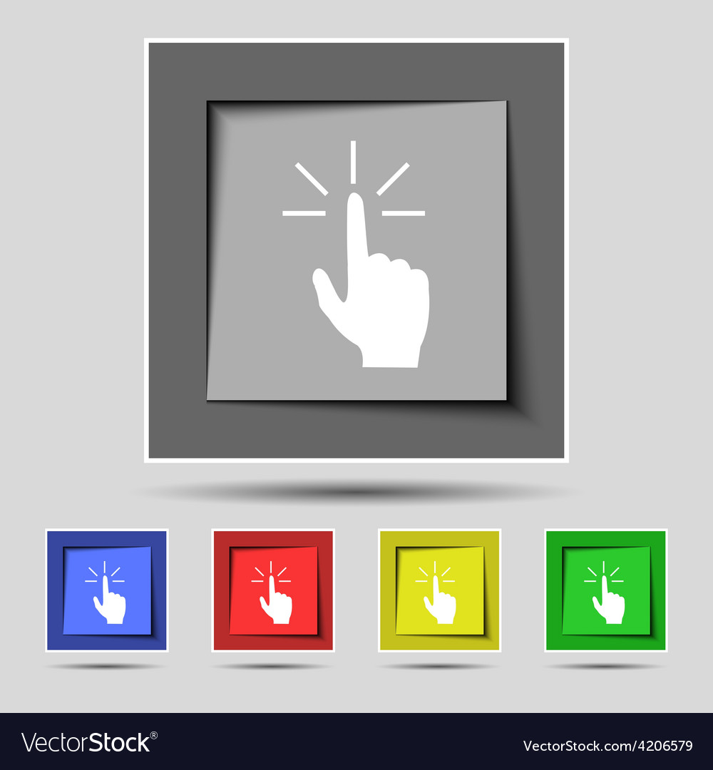 Click here hand icon sign on the original five vector | Price: 1 Credit (USD $1)