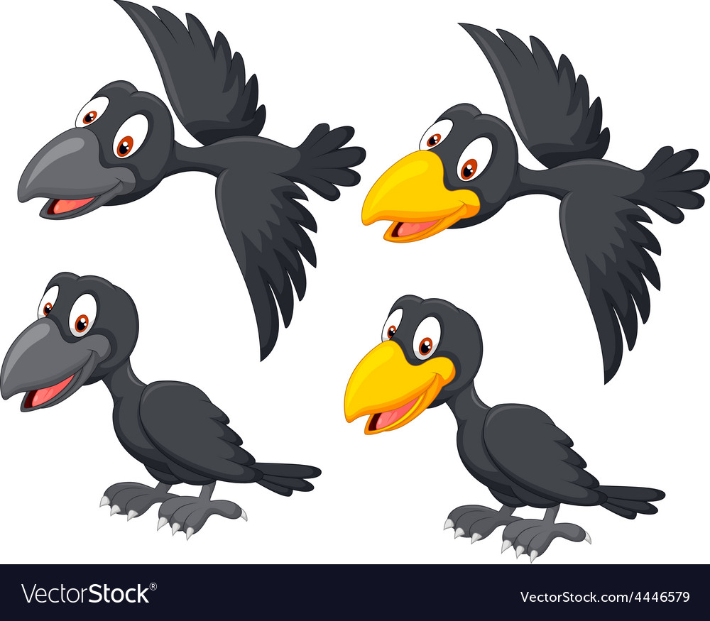 Cute cartoon raven vector | Price: 1 Credit (USD $1)