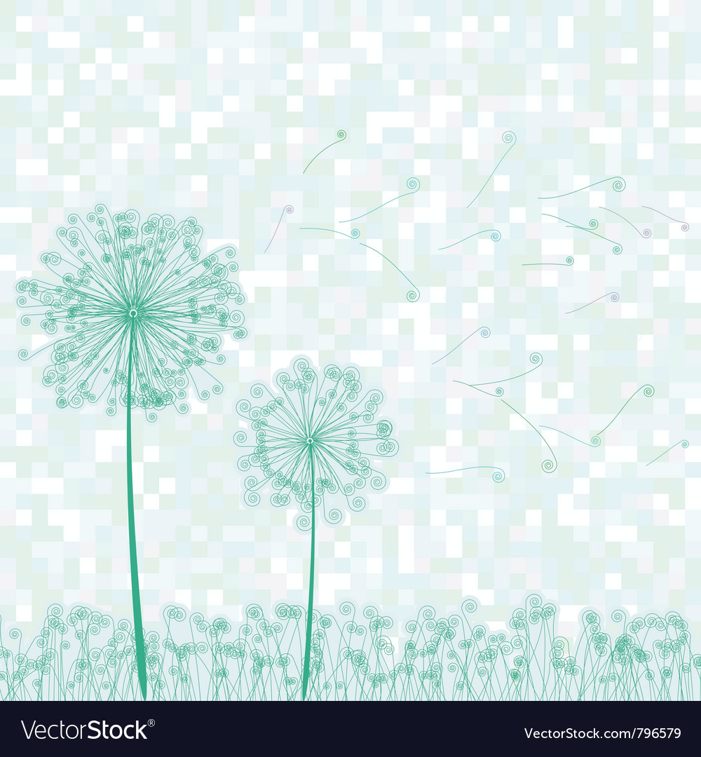 Dandelion retro card vector | Price: 1 Credit (USD $1)