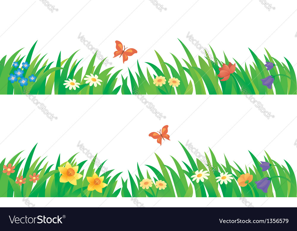 Grass and flowers set vector | Price: 1 Credit (USD $1)