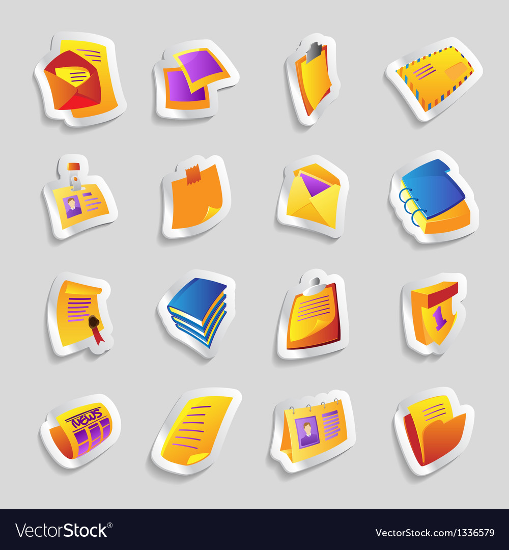 Icons for books and papers vector | Price: 1 Credit (USD $1)