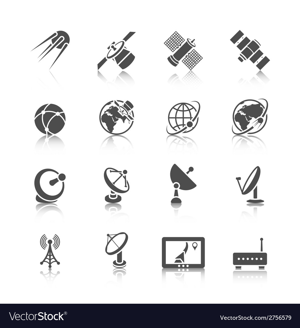 Satellite icons set vector | Price: 1 Credit (USD $1)
