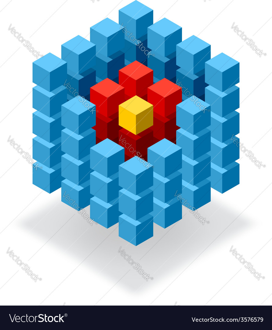 Segmented blue cube infographic vector