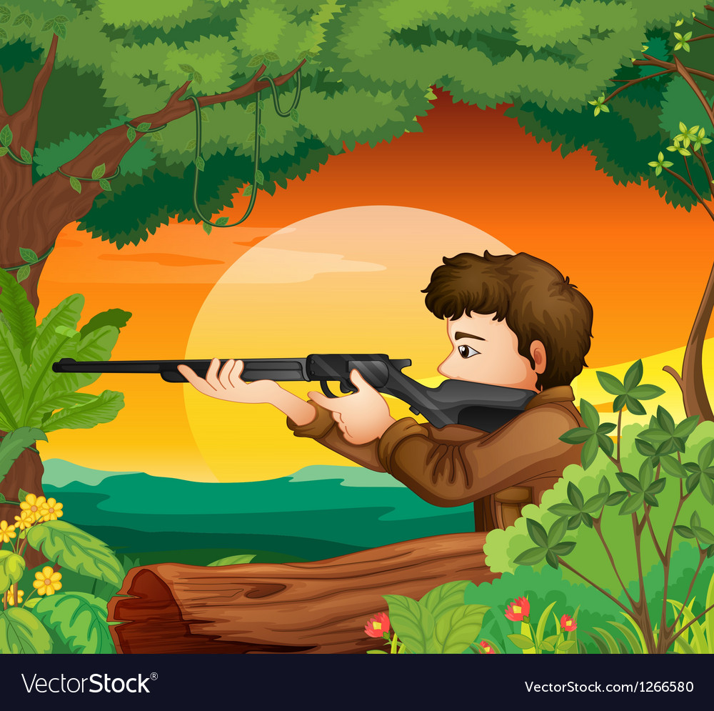 A man with a gun at the woods vector | Price: 1 Credit (USD $1)