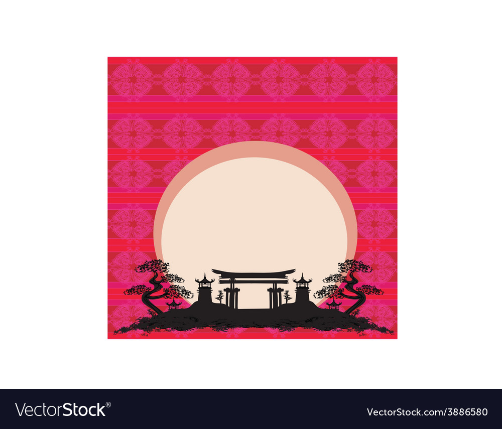 Abstract card with asian buildings vector | Price: 1 Credit (USD $1)