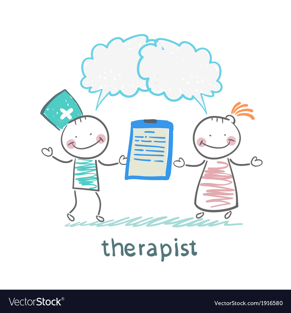Therapist keeps a folder in his hand and says to vector | Price: 1 Credit (USD $1)