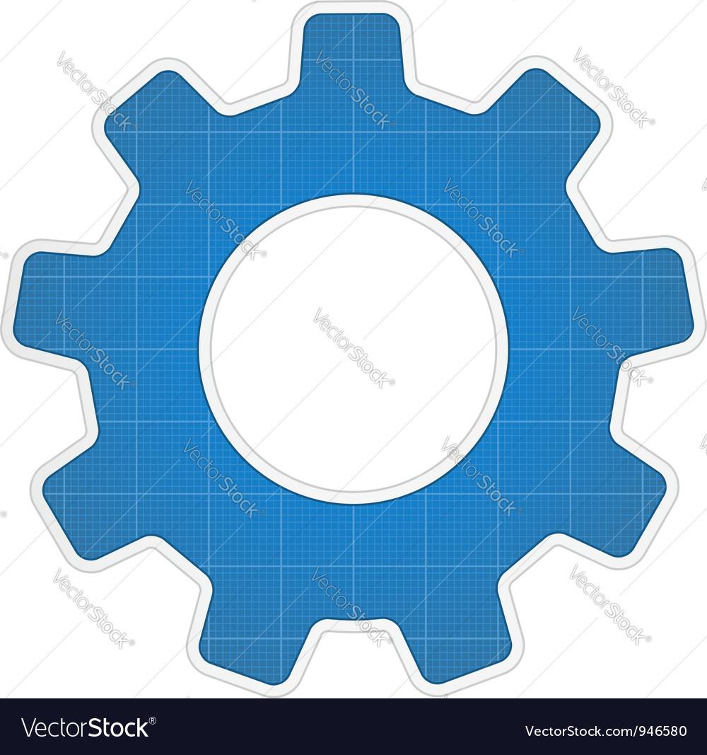 Blueprint gear icon vector | Price: 1 Credit (USD $1)