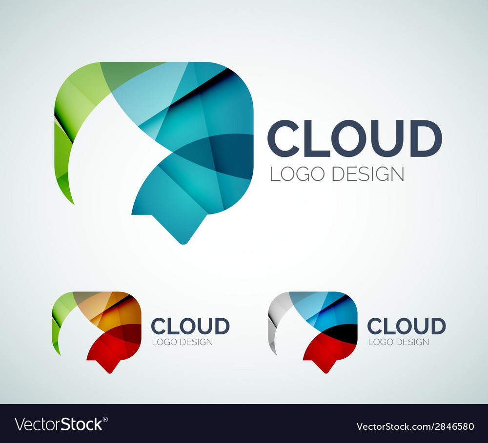 Chat cloud logo design made of color pieces vector | Price: 1 Credit (USD $1)
