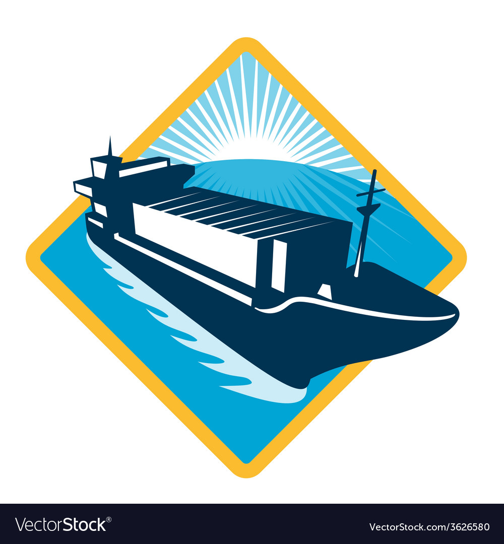 Container ship diamond retro vector | Price: 1 Credit (USD $1)