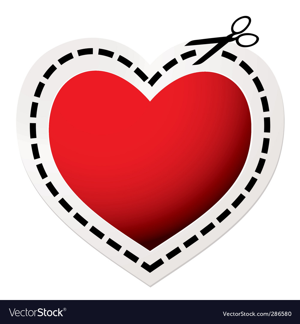 Cut out heart red vector | Price: 1 Credit (USD $1)