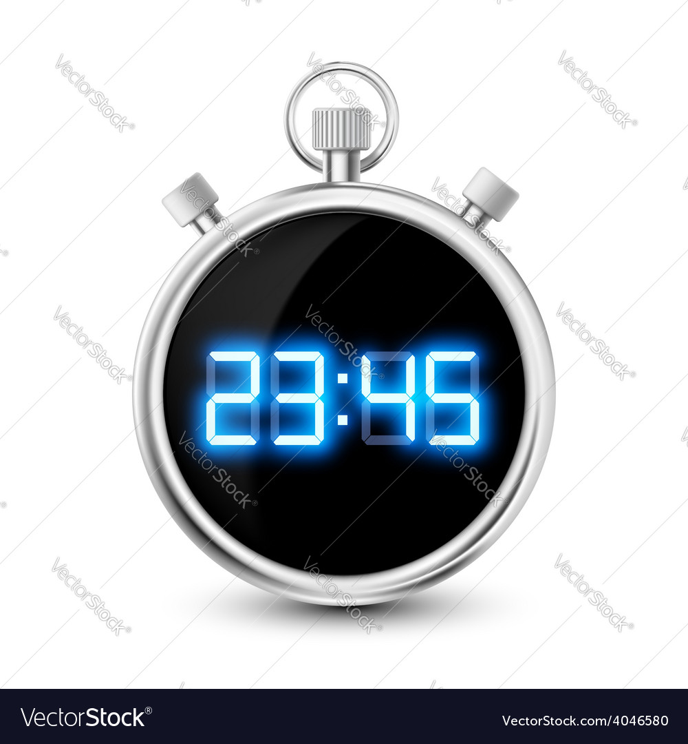 Digital stopwatch with blue numerals isolated on vector | Price: 1 Credit (USD $1)