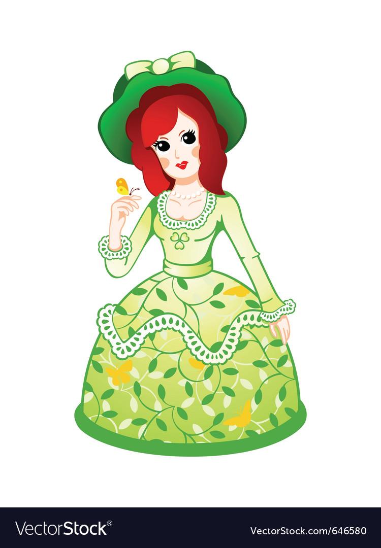 Floral retro doll vector | Price: 3 Credit (USD $3)