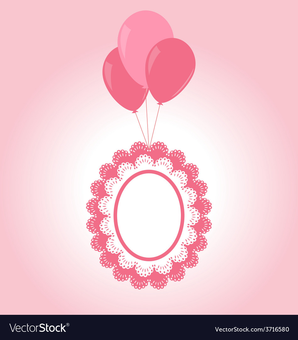 Lace pink baby frame on air balls vector | Price: 1 Credit (USD $1)