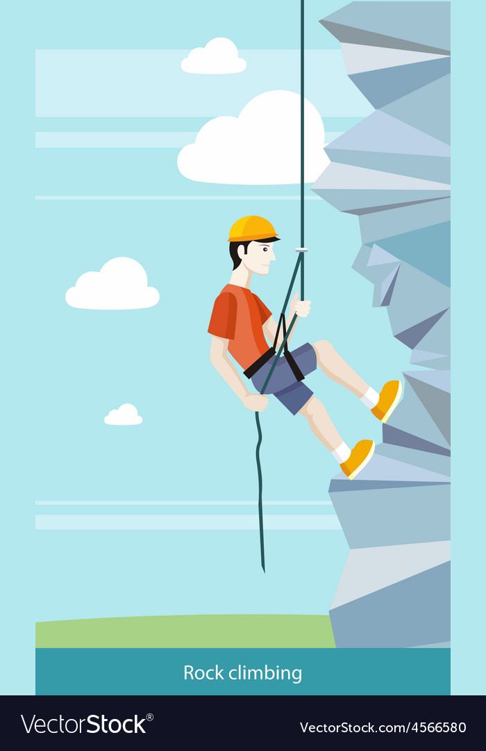 Man doing rock climbing vector | Price: 1 Credit (USD $1)