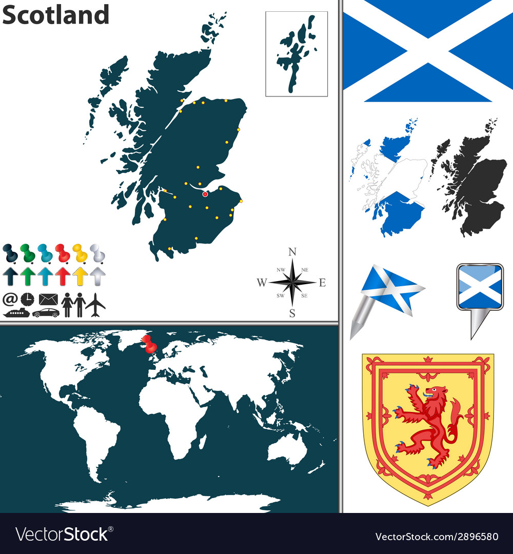 Scotland map world vector | Price: 1 Credit (USD $1)