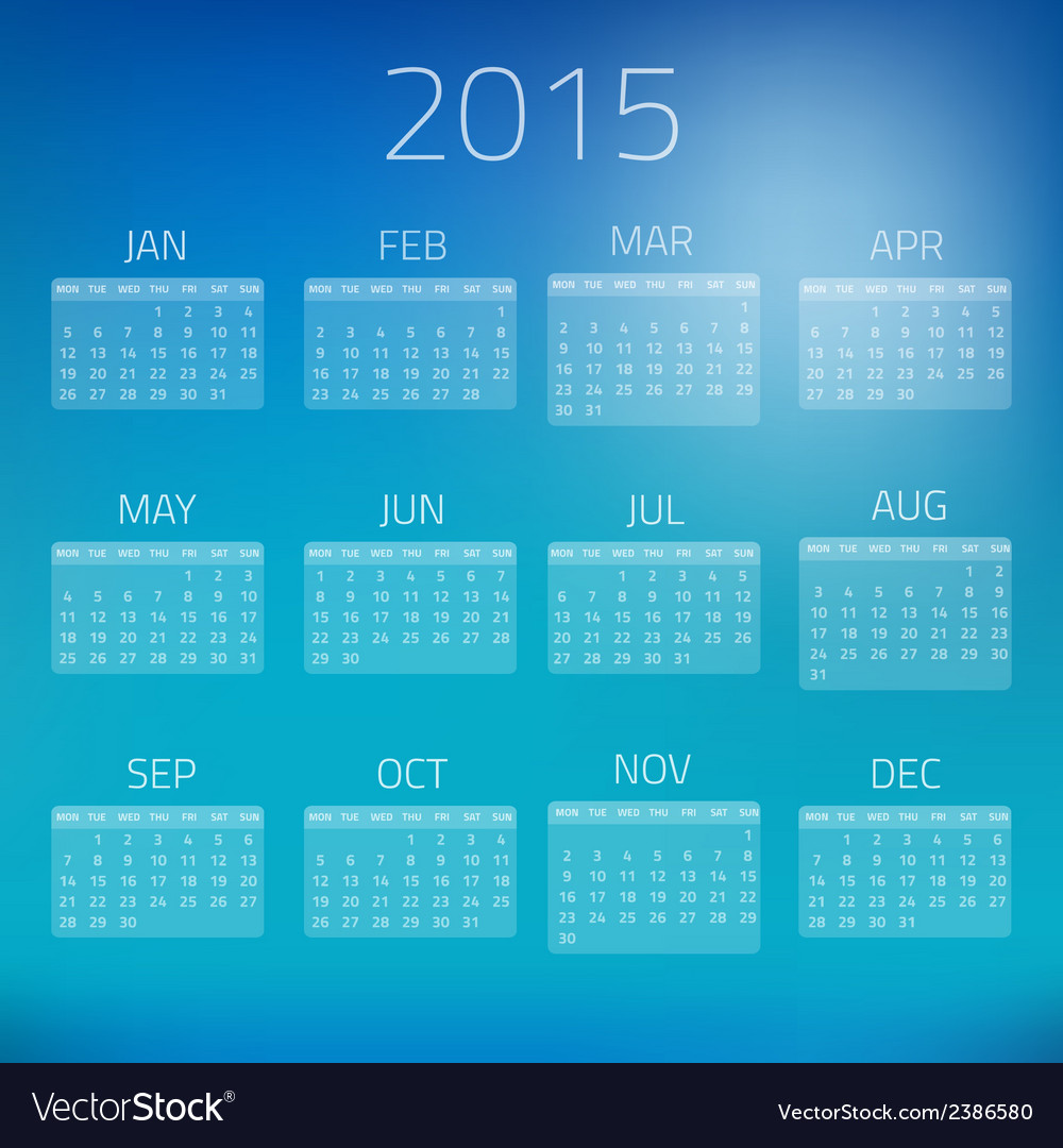 Summer gloss calendar 2015 background vector | Price: 1 Credit (USD $1)