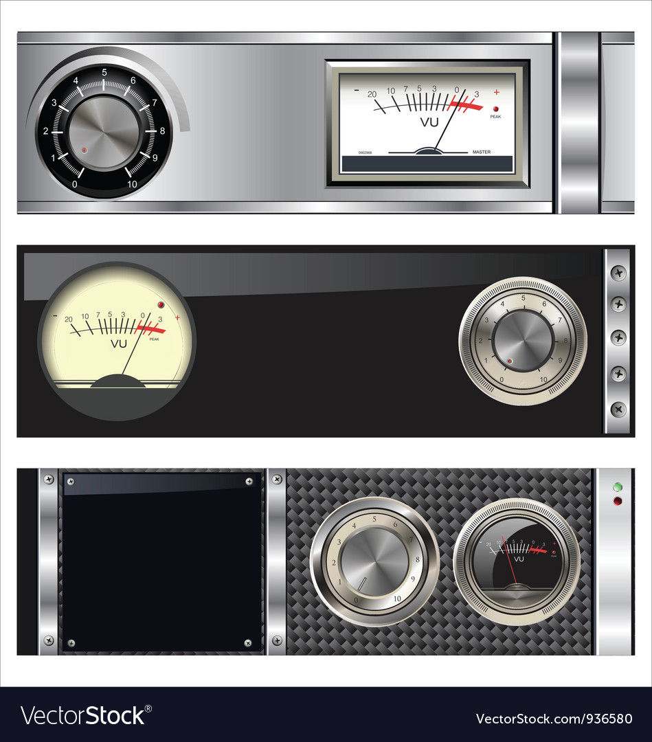 Technology banner with vu meter and volume knob vector | Price: 3 Credit (USD $3)