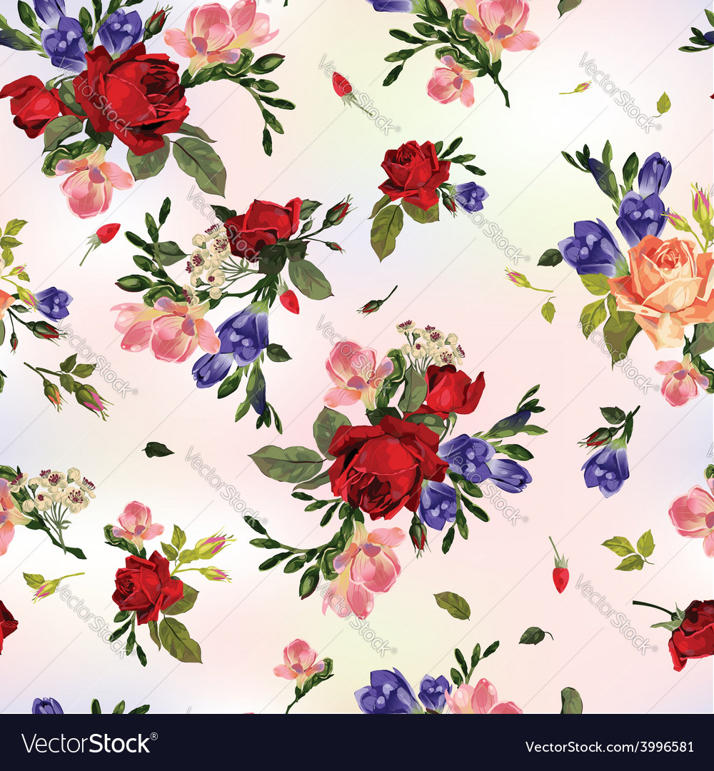 Abstract seamless floral pattern with red roses vector | Price: 1 Credit (USD $1)