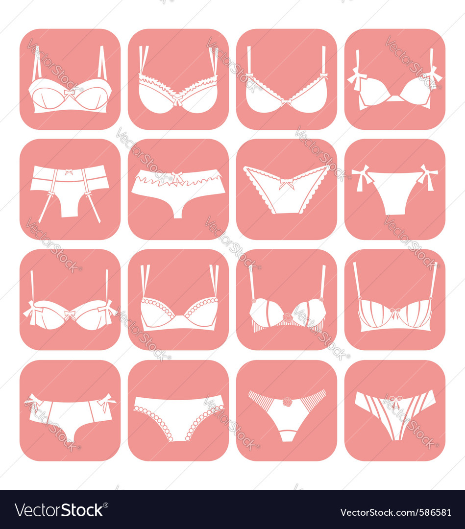 Lingerie icons vector | Price: 1 Credit (USD $1)