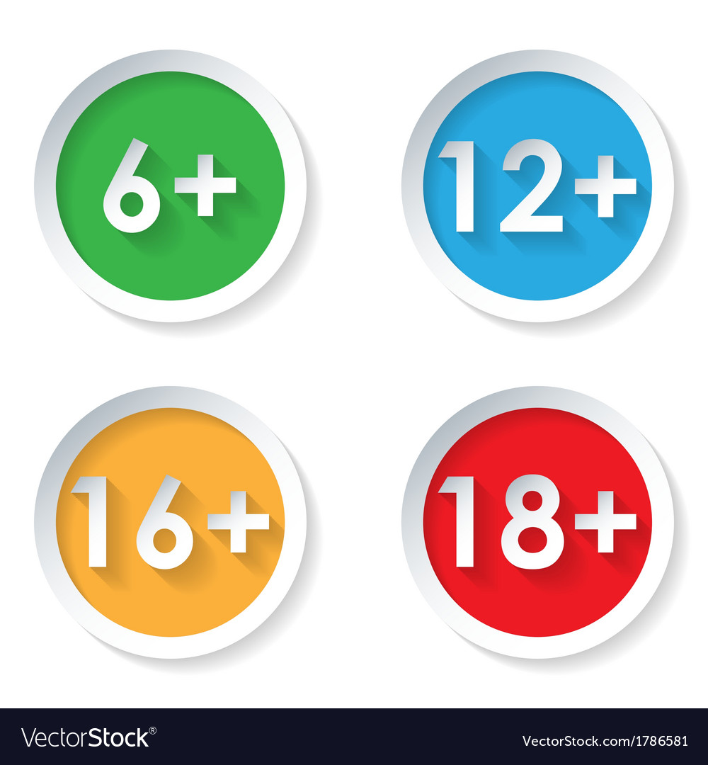 Set of age restriction flat icons vector | Price: 1 Credit (USD $1)
