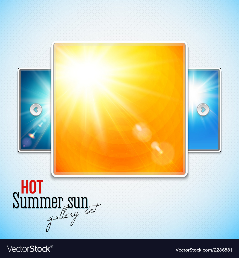Set of hot shining sun with lens flare web slider vector | Price: 1 Credit (USD $1)