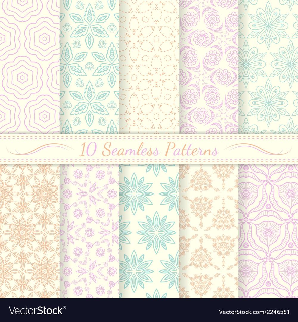 Set of ten seamless retro patterns vector | Price: 1 Credit (USD $1)