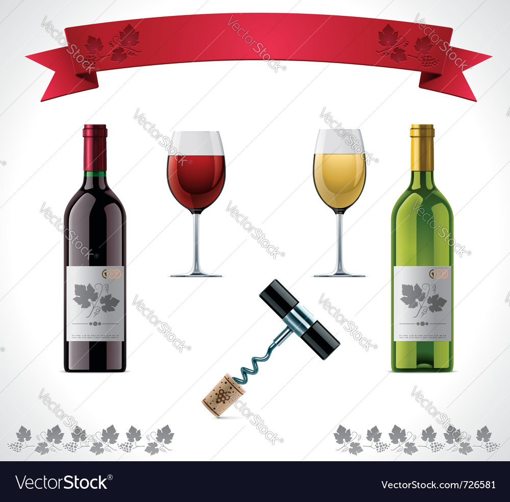 Wine icon set vector | Price: 3 Credit (USD $3)