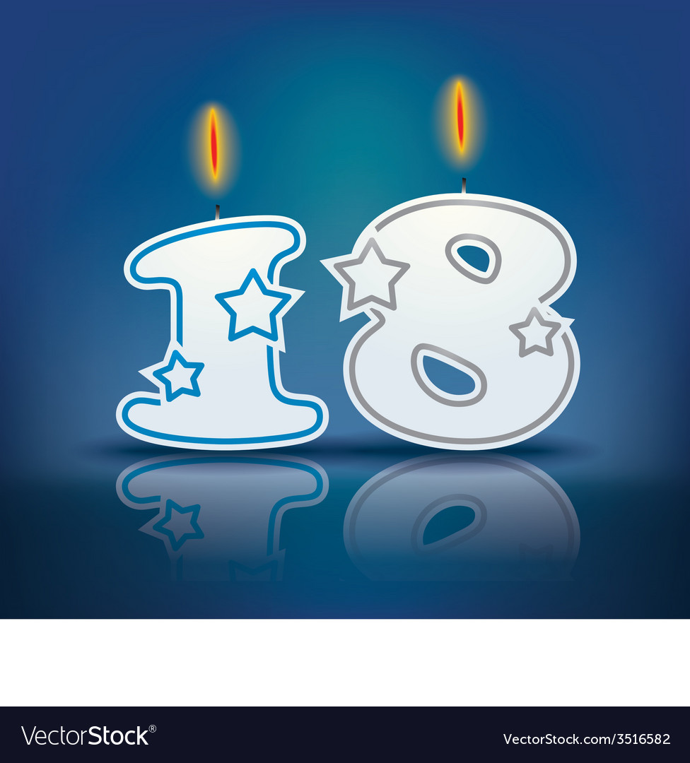 Birthday candle number 18 vector | Price: 1 Credit (USD $1)