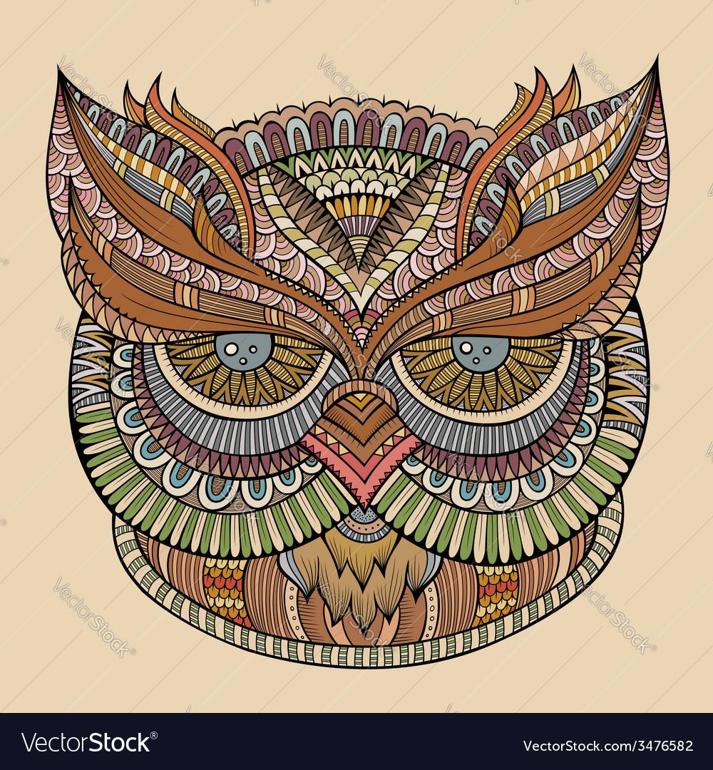 Decorative ornamental owl head vector | Price: 1 Credit (USD $1)