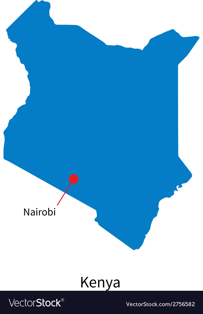 Detailed map of kenya and capital city nairobi vector | Price: 1 Credit (USD $1)