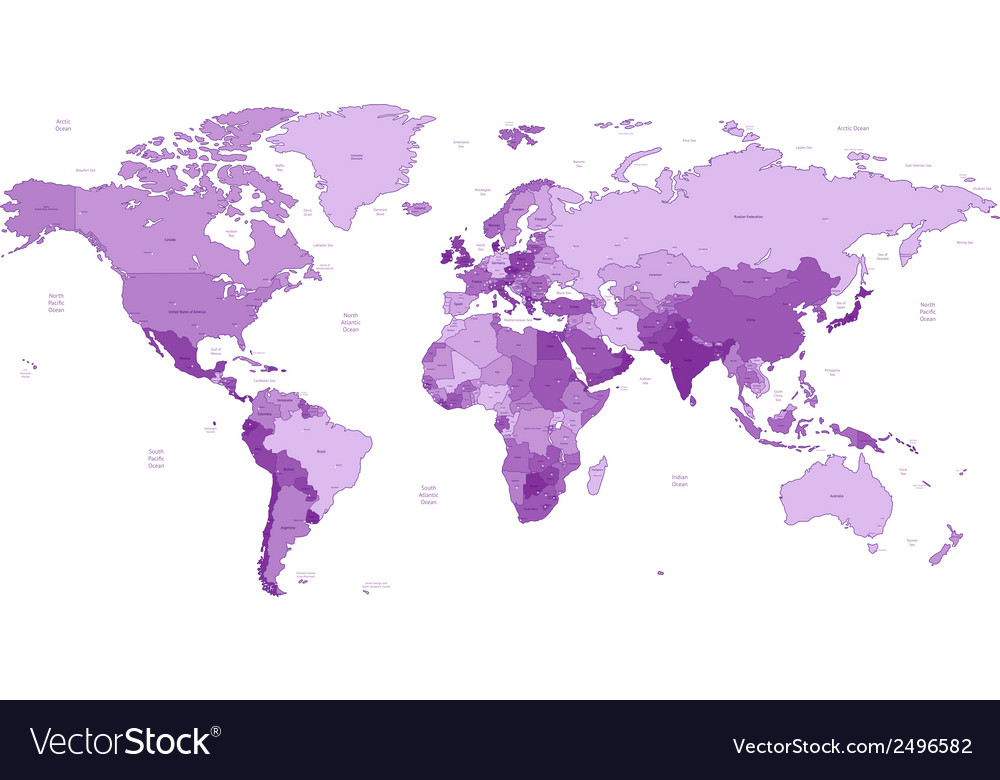 Detailed world map of violet colors vector | Price: 1 Credit (USD $1)