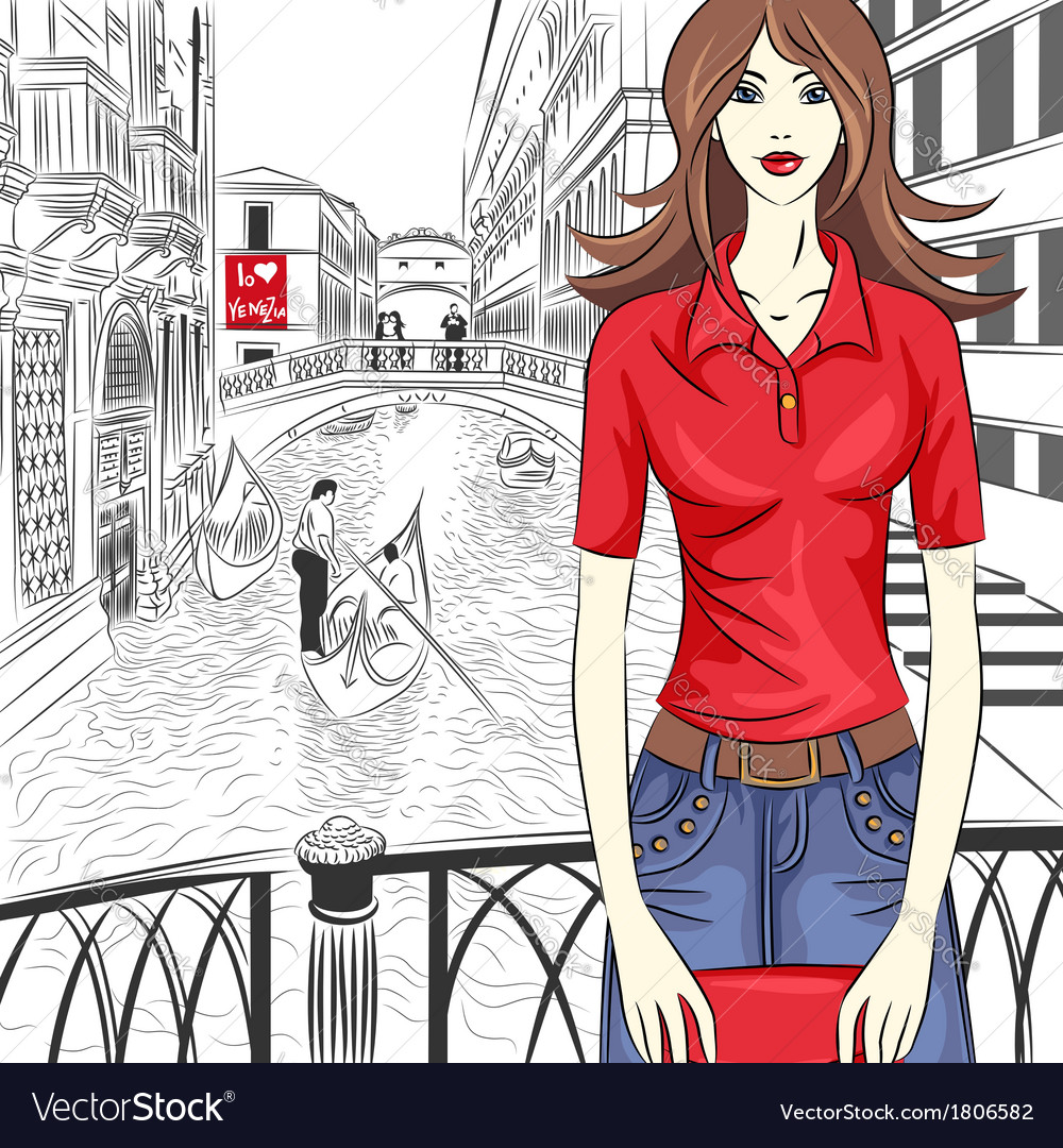 Fashion girl in venice vector | Price: 1 Credit (USD $1)
