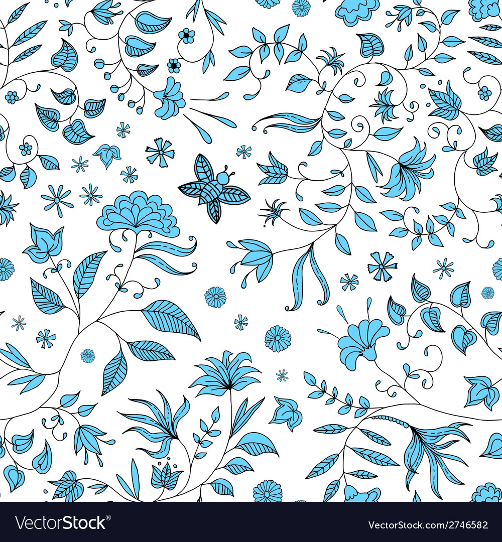 Flower seamless pattern blue vector | Price: 1 Credit (USD $1)