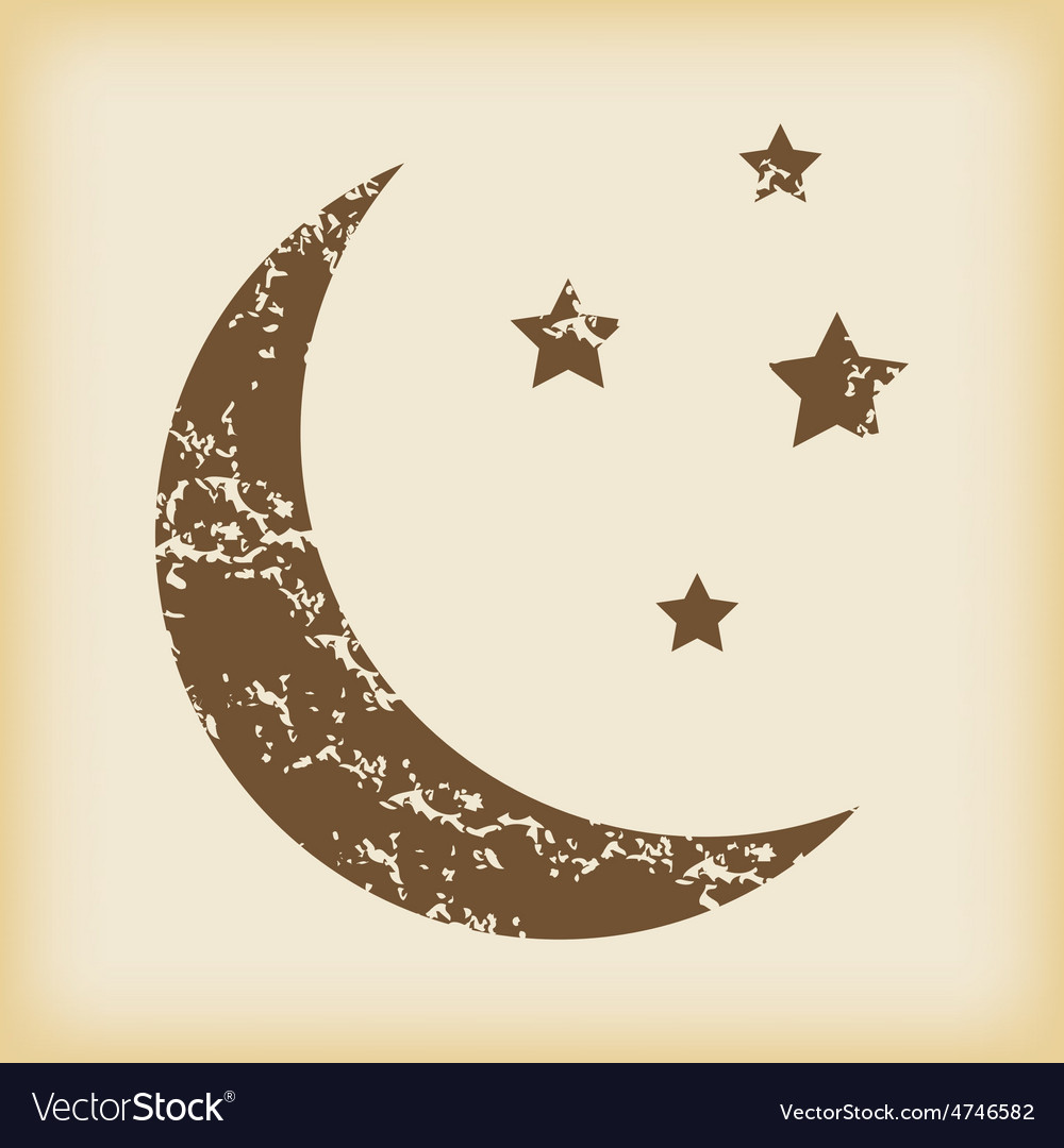 Grungy crescent moon icon vector | Price: 1 Credit (USD $1)