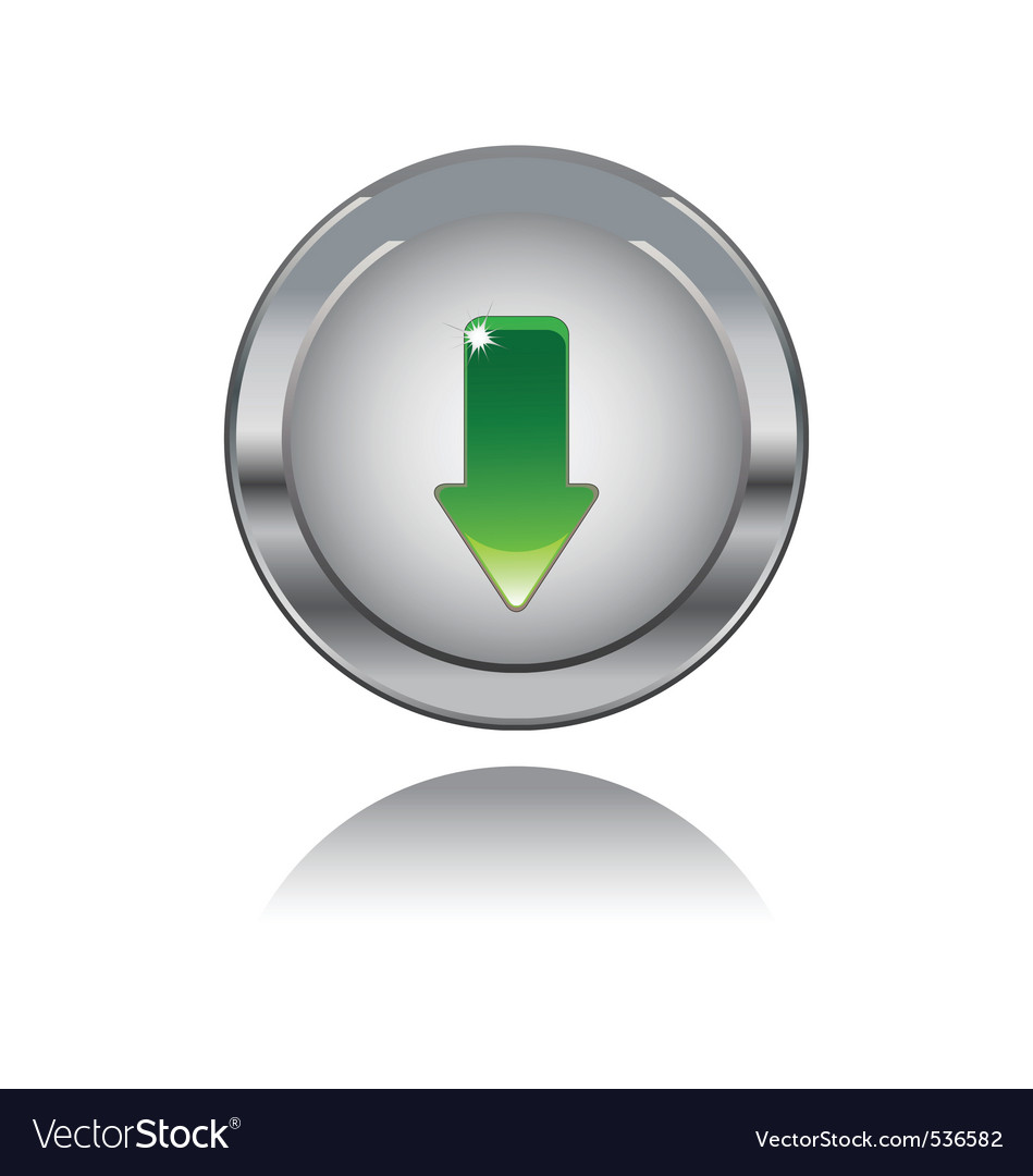 Metal button with downloads sing vector | Price: 1 Credit (USD $1)