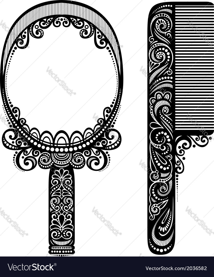Ornate comb with mirror vector | Price: 1 Credit (USD $1)