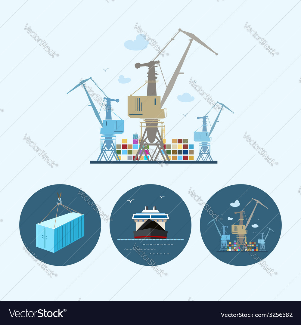 Set icons with container dry cargo ship crane vector | Price: 1 Credit (USD $1)