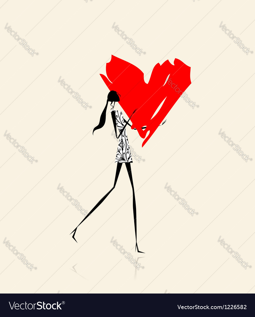 Valentine day girl with big red heart vector   Price: 1 Credit (USD $1)