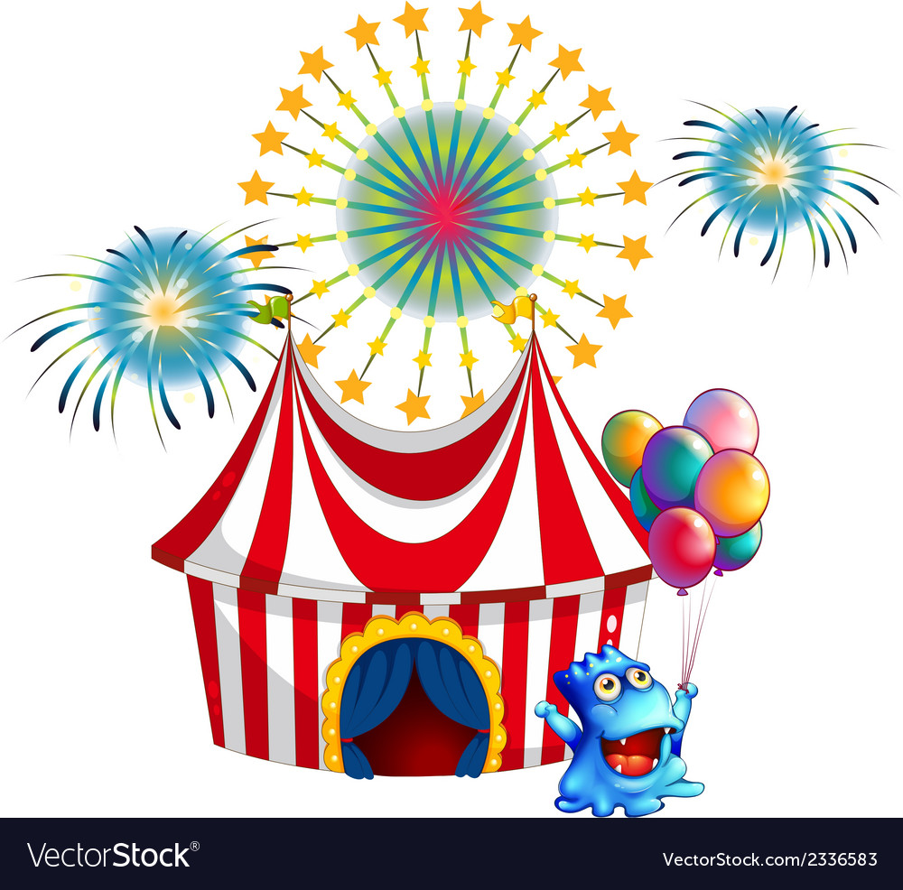 A circus tent with a monster in the front vector | Price: 3 Credit (USD $3)