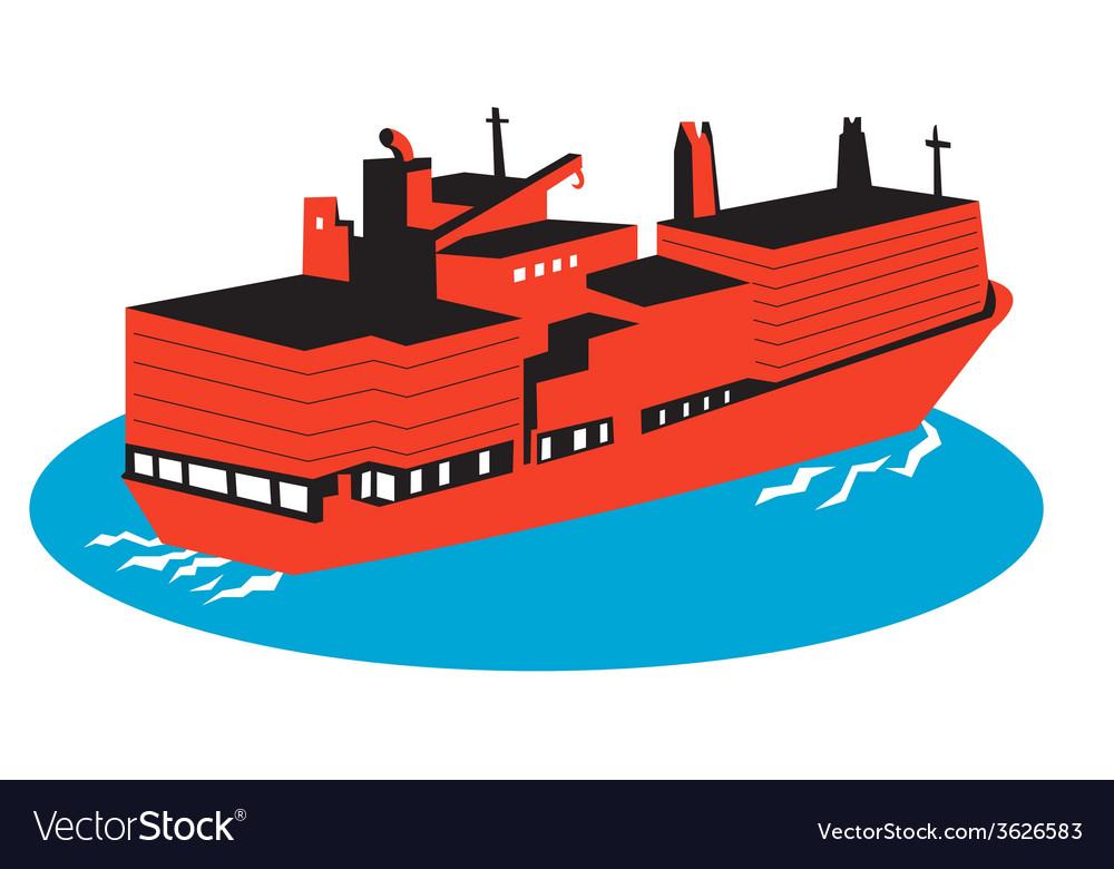 Container cargo ship retro vector   Price: 1 Credit (USD $1)