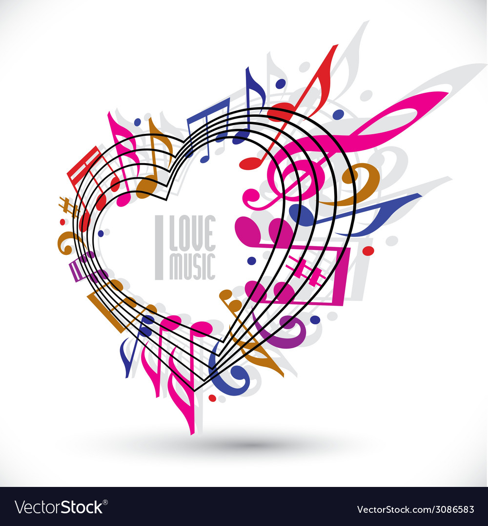 I love music template in red pink and violet vector | Price: 1 Credit (USD $1)