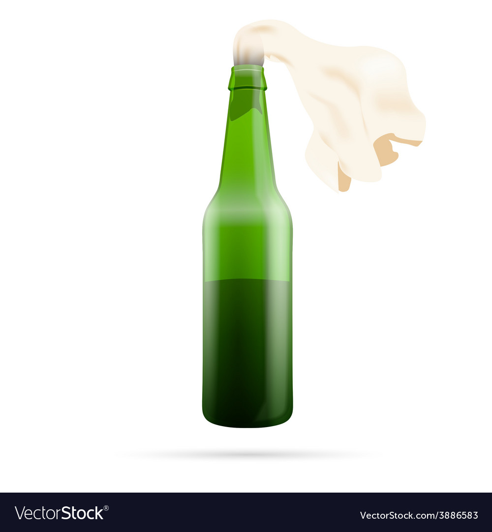 Molotov cocktail bomb isolated on white vector | Price: 1 Credit (USD $1)